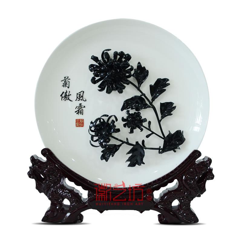 四君子菊花芜湖铁画 家居办公摆设 安徽特色文化手工艺礼品