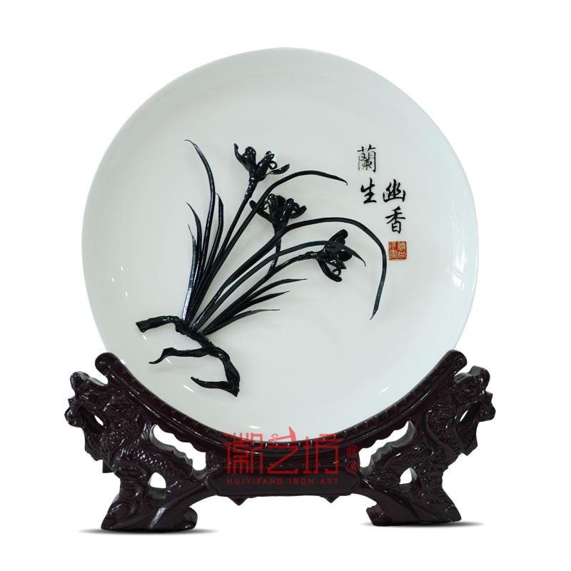 四君子兰花芜湖铁画 家居办公摆设 安徽特色文化手工艺礼品