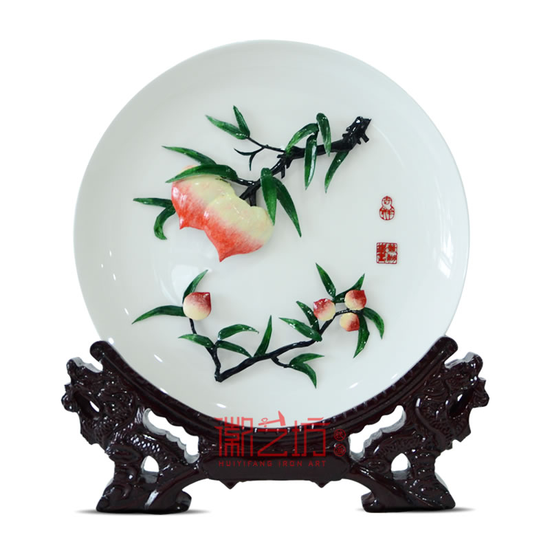 桃李满天下彩色瓷盘芜湖铁画 送老师礼物 安徽特色文化手工艺