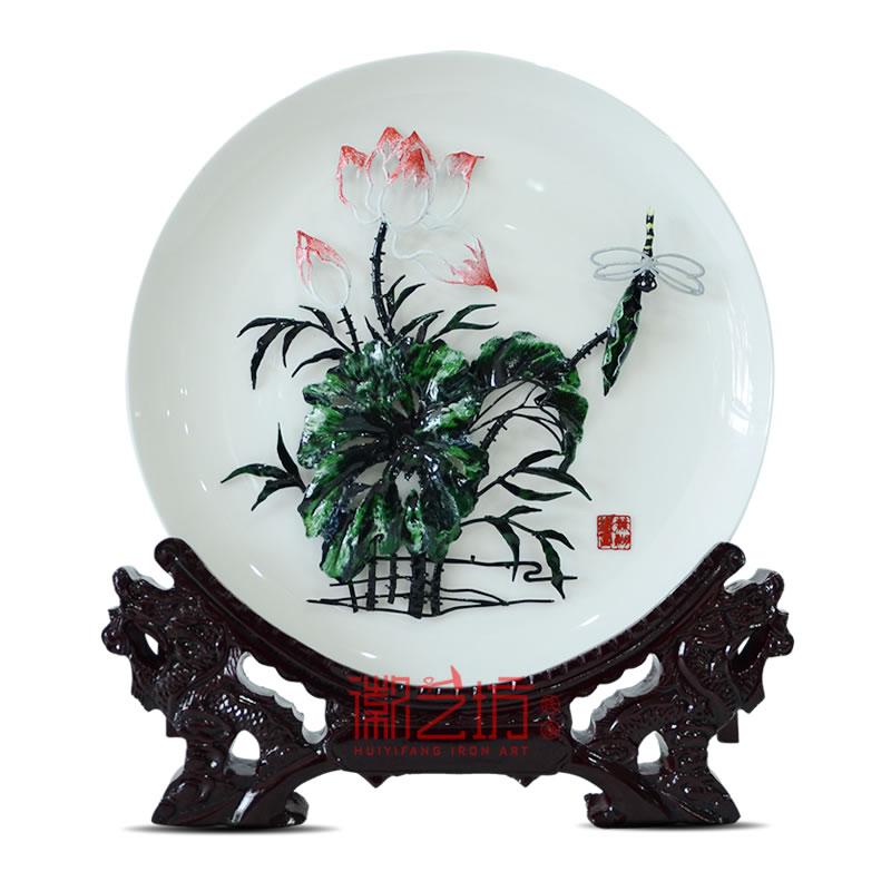 荷花彩色瓷盘芜湖铁画安徽特色文化手工艺国家级非遗