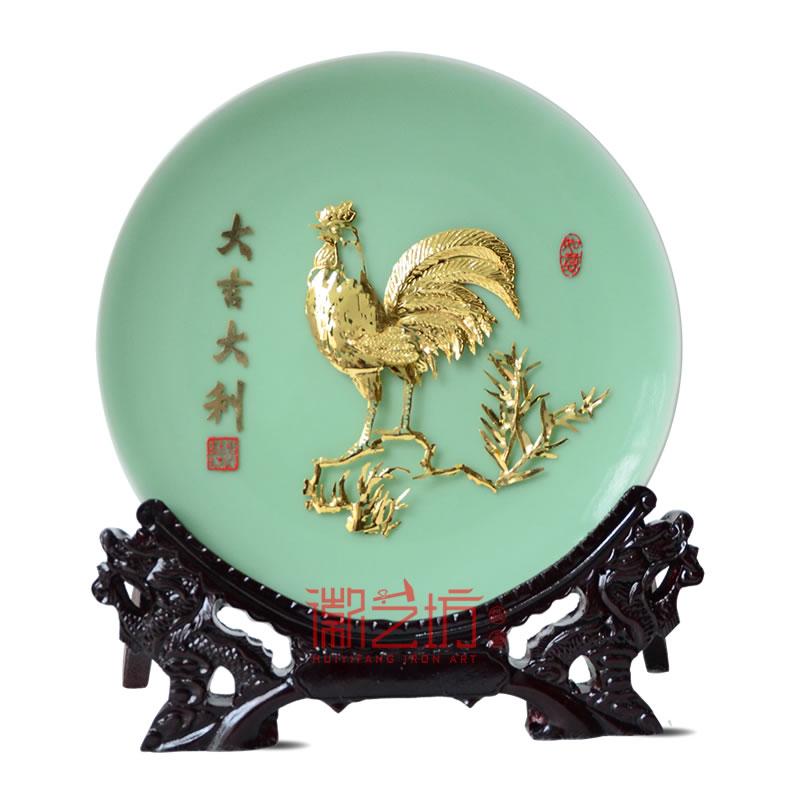 金鸡大吉大利芜湖铁画公司商务会议礼品安徽特色文化手工艺