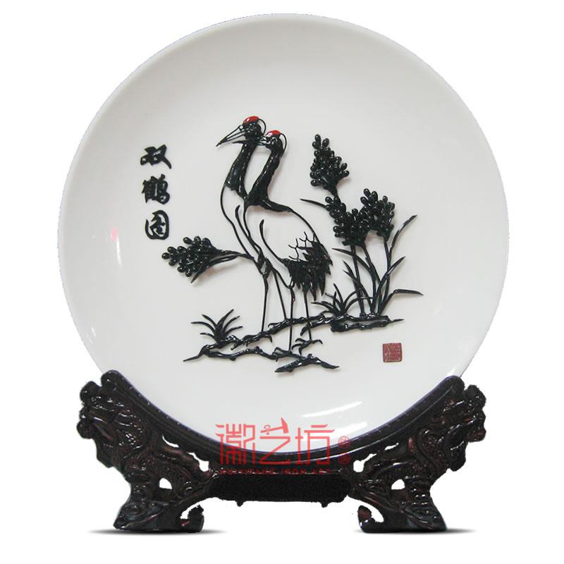 双鹤图瓷盘芜湖铁画 家居办公摆件 安徽特色手工艺徽艺坊品牌