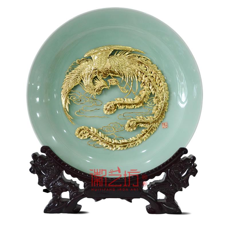 金凤凰龙泉青瓷芜湖铁画摆件 国家级非物质文化遗产安徽特色手工艺术品