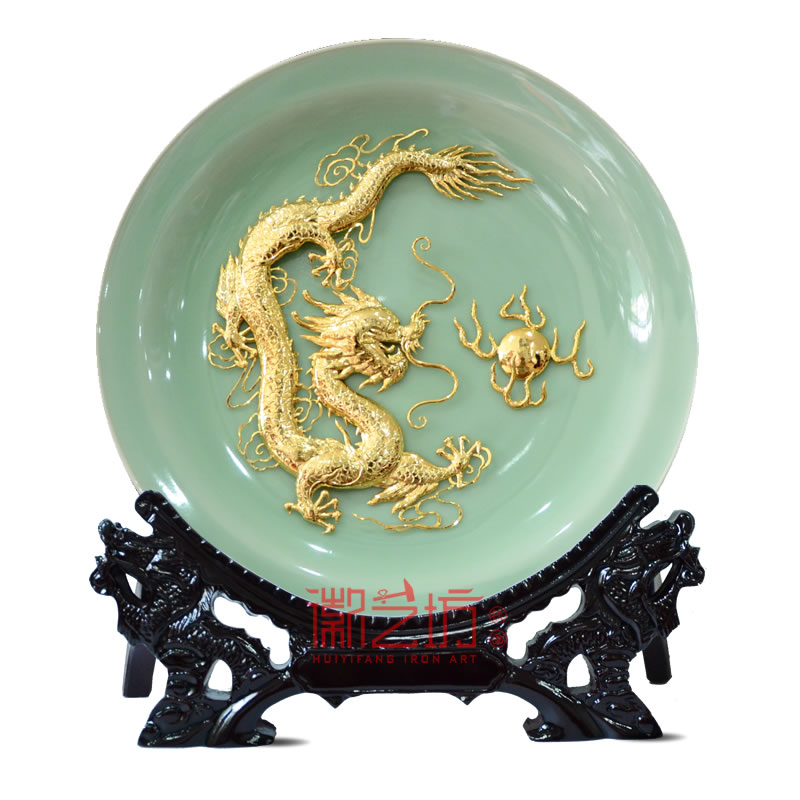 龙泉青瓷金龙铁画 家居办公精致摆件 国家级非遗手工艺术品