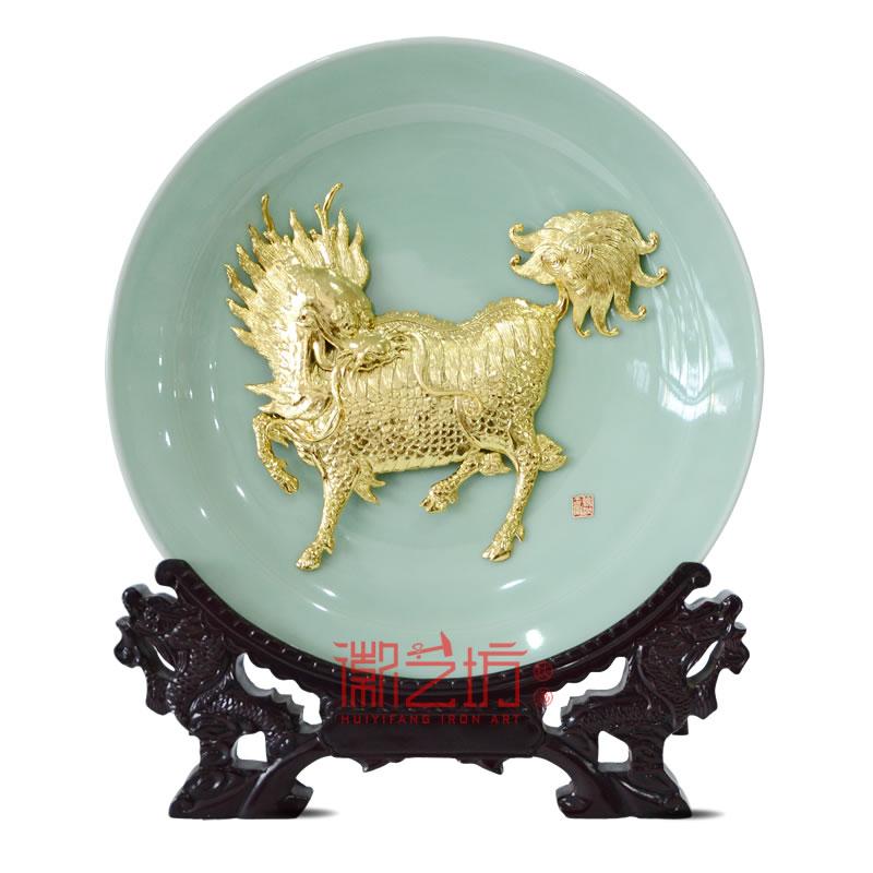 麒麟龙泉青瓷芜湖铁画摆件 国家级非遗手工艺术品 安徽特色礼品