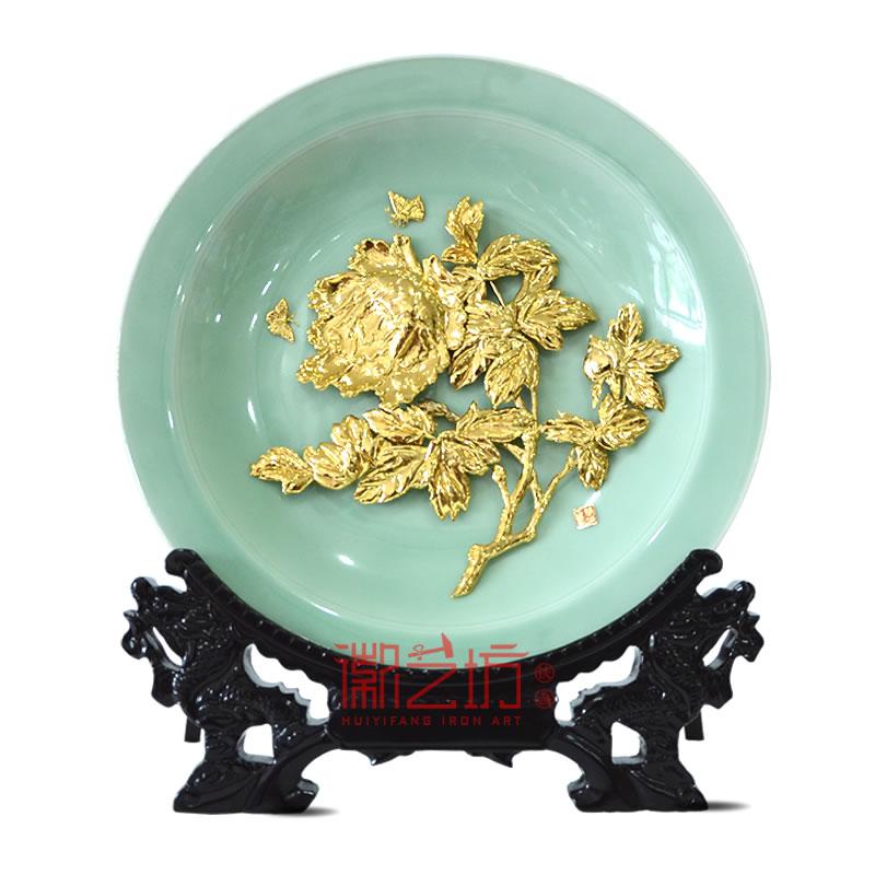 牡丹金画龙泉青瓷摆件 家居办公摆设 特色手工文化艺术品