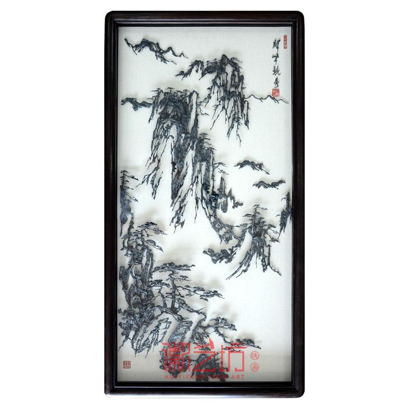 徽艺坊李强作品黄山风景水墨铁画 中式装饰挂画可欣赏收藏
