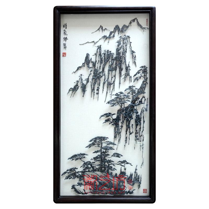 黄山奇松怪石风景水墨铁画李强作品 中式装饰挂画可欣赏收藏