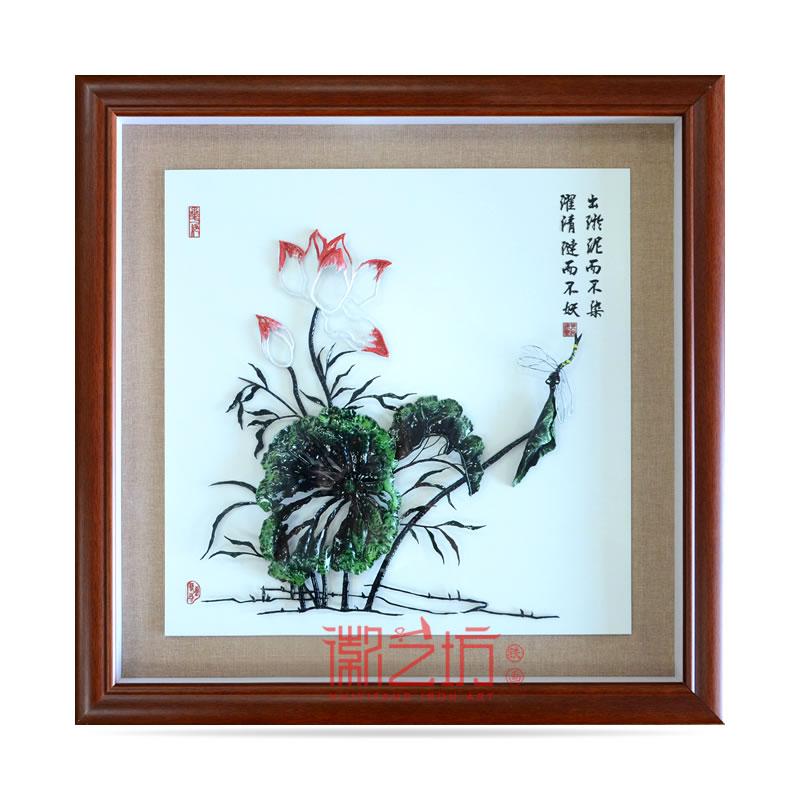 彩色荷花芜湖铁画家庭玄关餐厅装饰挂画 安徽特色手工艺术品