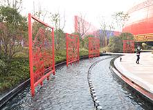 合肥万达广场定制八幅双面喷泉景观铁画