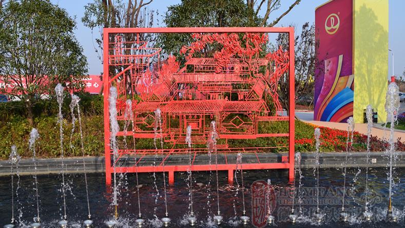 户外广场喷泉景观——合肥万达文旅城户外广场铁画《合肥八景》