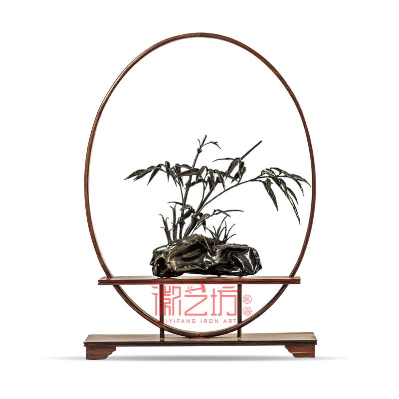 立体铁画竹子 古典禅意装饰摆件 特色手工金属艺术品