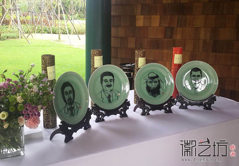 华为公司定制外事交流礼品赠中东友人专属肖像铁画