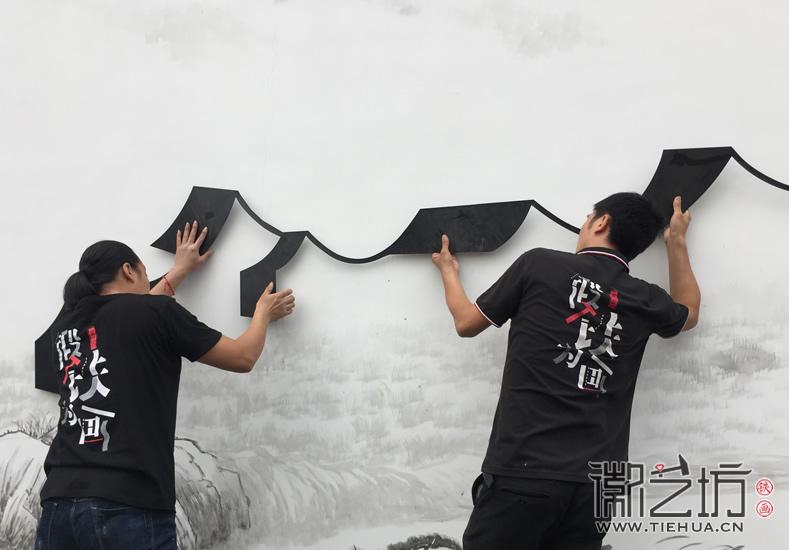 徽艺坊定制合肥明光路地铁站出口景观墙铁画 (26)