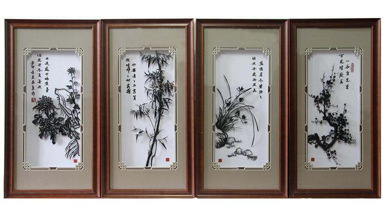 梅兰竹菊四君子-李爱平设计铁画作品