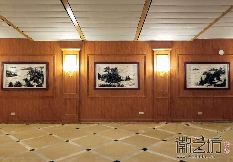 黄山风景 上海宇培国际接待大厅彩绘浅浮雕装饰铁画定制案例