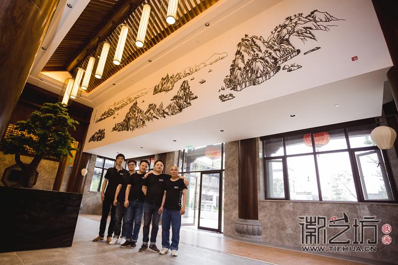 地方文化  徽派特色 鸠兹古镇绿心谷酒店大堂装饰壁画《百里皖江图》/《徽派马头墙》
