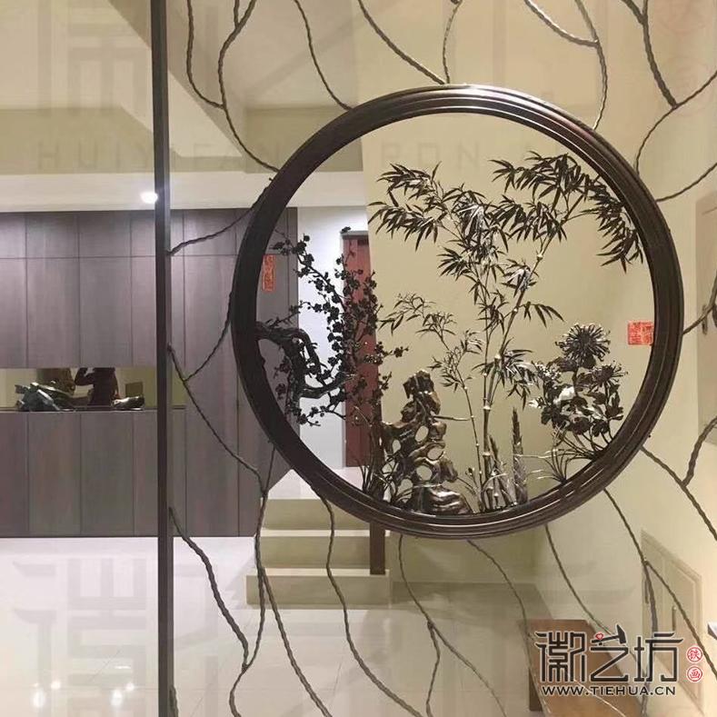 台湾客户定制家居屏风 梅兰竹菊四君子双面透雕铁画