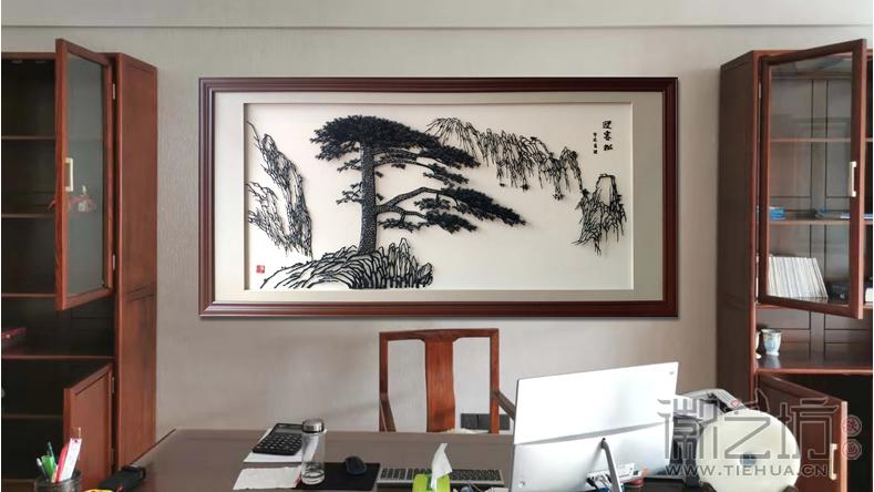 老板办公室背景墙铁画迎客松-主图1