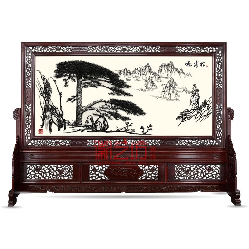 精品收藏铁画双面屏风迎客松 大厅高端大气屏风 国家级非遗艺术品