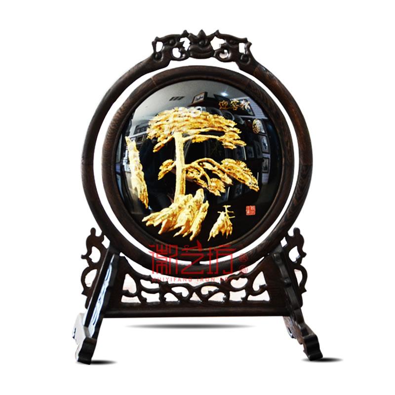 古典台屏双面镀金铁画迎客松+马到成功 商务会议馈赠礼品 安徽特色手工艺术