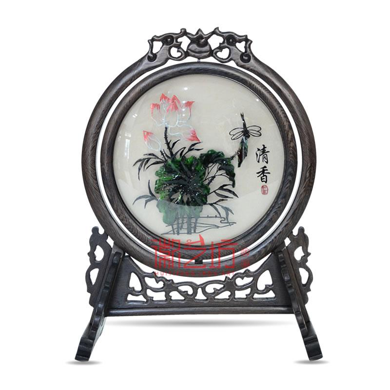 双面台屏铁画镶嵌弧面玻璃 商务会议馈赠礼品 安徽特色手工艺