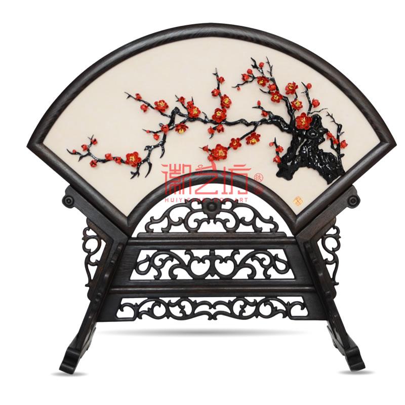 扇面台屏摆件铁画梅花+家和万事兴 家庭摆设 安徽特色非遗手工艺术品
