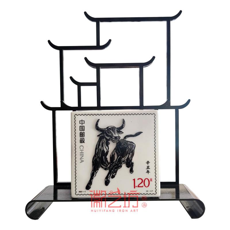 辛丑牛年邮票铁画繁昌窑笔筒 安徽特色文化礼品