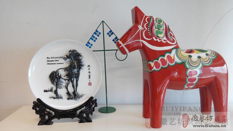 宜家定制的赠送瑞典公司创始人的中国特色铁画礼物-中国马图案铁画
